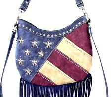Montana West~American Flag Fringe Hobo Bag/Crossbody Purse~Stripes~Star Studs~NV