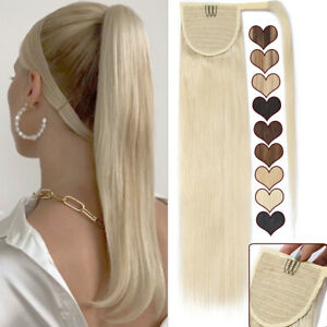 US Thick Ponytail Clip In Human Hair Extensions Wrap Around 100% Remy Hairpiece