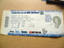 Tickets: 2004 Carling CUP 2nd RD- BLACKBURN ROVERS v AFC BOURNEMOUTH, 22 Sept