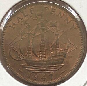 1947 ~ UNITED KINGDOM ~ HALF PENNY ~ AU50 Red