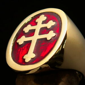 Perfectly crafted Mens Resistance Ring Two Barred Cross of Lorraine Red