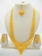 Gold Plated Rani Haar Long Necklace Filigree South Indian Ethnic Jewelry Set