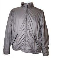 Vtg 90s Polo Ralph Lauren Softshell Jacket Gray Stow Hood Calf Leather Trim Coat