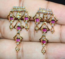 CERTIFIED NATURAL 1.75CT VS G DIAMOND UNHEATED RUBY 18K GOLD CHANDELIER EARRINGS