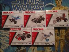 5 Sets of Erector by Meccano assorted Vehicles Race Car Plane Helicopter