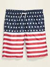 NWT Old Navy USA Patriotic Flag Stars Stripes Swim Trunks Board Shorts Boys