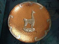 Inca Peru Sterling over copper Alpaca lama charger signed Cobrey
