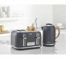 Breville Modern Curve Fast Boil Kettle and 4 Slot Toaster VTT912 VKT118 Grey