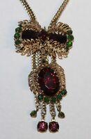 Vintage Selro Selini Bolo Necklace Amethyst & Green Rhinestone Gold Leaf Branch