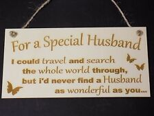 """""""For a Special Husband"""" Anniversary Gift Wooden Sign Present love present plaque"""