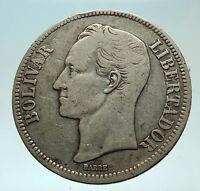 1921 Freemason President Simon Bolivar VENEZUELA Founder Silver Coin i75979