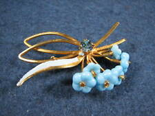 Vintage Blue Flower & Rhinestone Gold Tone Brooch Pin Signed Austria Beautiful