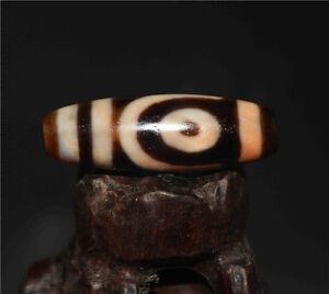 old tibetan dzi bead 2 eyes agate eyed two cinnabar antique gzi amulet necklace