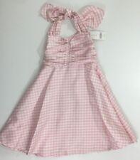 NWT Gymboree Girls Size 4 Pink Gingham Silk Retro Vintage Style Halter Dress