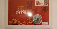 2020 Lunar Year Of The Rat £2.00 1oz Fine Silver Coin In in a cover Capsule