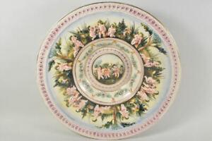 f88r47- Großer Capodimonte Keramik Wandteller/ Schale mit Puttendekor
