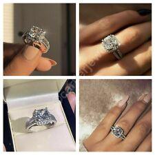 10K Real White Gold Cushion Cut 2.30 Ct Diamond Wedding Engagement Women's Ring