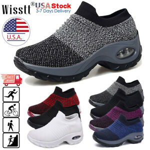Womens Air Comfort Sports Running Shoes Mesh Walking Slip-On Sneakers Sock Shoes
