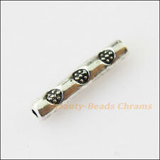 45Pcs Antiqued Silver Tone Flower Tube Spacer Beads Charms 14.5mm
