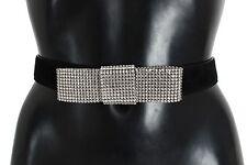 NEW $600 DOLCE & GABBANA Belt Black Suede Swarovski Crystal Waist s. 85cm / 34in