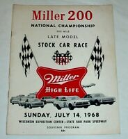 1968 PROGRAM • USAC STOCK CARS @ MILWAUKEE Miller 200 • Foyt Andretti Indy 500
