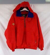 Descente Men's 1/2 Zip Ski Jacket Hide Away Hood Red Nylon Sz M Long Sleeve EM30