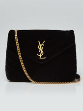 Yves Saint Laurent Black Quilted Velvet Small LouLou Bag