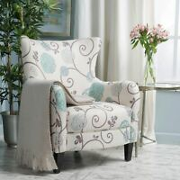 Venette Modern Curved Fabric Upholstered Club Chair with Tonal Piping