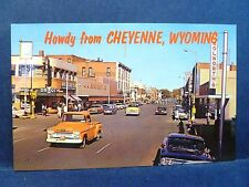 Postcard WY Cheyenne Vintage Main Street View 1950's Old Cars & Stores
