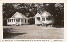 Postcard ON Ontario Lakefield RR 1 Beachwood Lodge Cottages 1 & 2 RPPC 1951