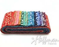 "Hoffman Bali Poppy Jelly Roll 20 Batik 2.5"" Strips Gemstone w/ Metallic accents"