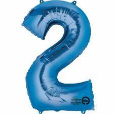 NUMERO 2 BLU Supershape pallone FOIL COMPLEANNO ANNIVERSARIO DECORAZIONI FESTA
