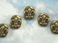 6 Slider Fleur de Lis Beads Bronze Tone Slotted  Antiqued Use on Ribbon #P1476