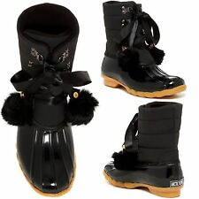 Arctic Plunge ALVARA Faux Fur Lined WATER RESISTANT!! Duck Snow Boots Black NEW