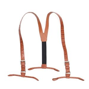 Suspenders for Men Alligator Crocodile Leather Button End Elastic Tuxedo Y Brown