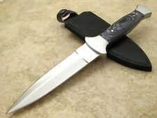 Double Edged Dagger Blade Boot Knife Leather sheath Metal Clip