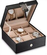 Glenor Co Watch Box for Women -6 Slot Classic Watch Case Display Organizer Black
