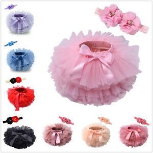 Baby Girls Frilly Tutu Knickers Bloomer Christening Wedding Flower Hair Band