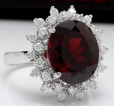 8.80 Carats Natural Red Garnet & Diamond 14K Solid White Gold Ring