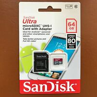 SanDisk 64GB Ultra Memory Card Micro SD SDXC UHS-1 CLASS 10 80MB/s + SD Adapter