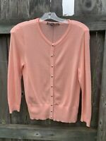 WHITE HOUSE BLACK MARKET Pink Cardigan Sweater Size Small Silver Buttons WHBM