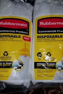 2 packs 2 Rubbermaid Disposable Mop Refills #16 Small remove  3x dirt & grease