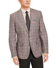 Bar Iii Mens Slim Fit Plaid Sport Coat 40r Purple Linen