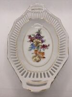 Schumann Arzberg Bavaria Porcelain Reticulated Oval Dish Bowl Dresden Flowers 8""