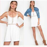 Topshop Petite White Crochet Lace Mini Holiday Dress Size 8 US 4 Blogger❤