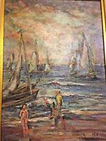 Fine Art Raymond March Evening Boats Original Painting Vintage Impressionist