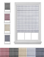 Retractable Plaid Custom Cordless Roman Window Shades - Assorted Colors & Sizes