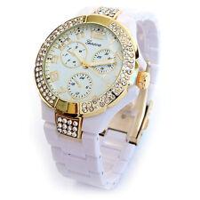 New White Gold Geneva 3D Crystal Bezel Boyfriend Style Women's Watch