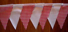 Red & White Gingham Fabric Bunting Party wedding Bedroom Decoration 2mt or more