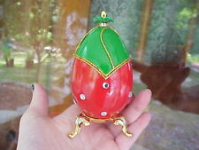 Strawberry Jewelry/Trinket/Gift Box Decorated Real Goose Egg Collectible